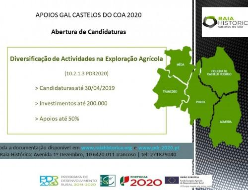 Novo Aviso de Concurso: Diversificação das Atividades na Exploração Agricola